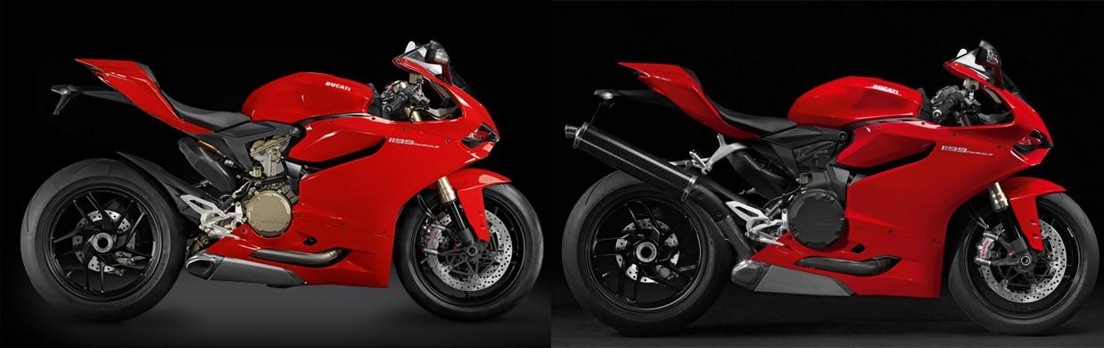 Modelo original da Ducati Panigale à esquerda e modelo japonês à direita