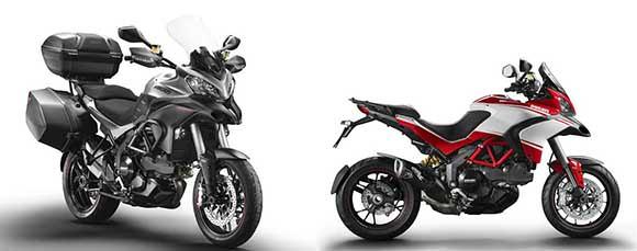 À direita a Ducati Multistrada Granturismo e à esquerda a Ducati Multistrada 1200 Pikes Peak